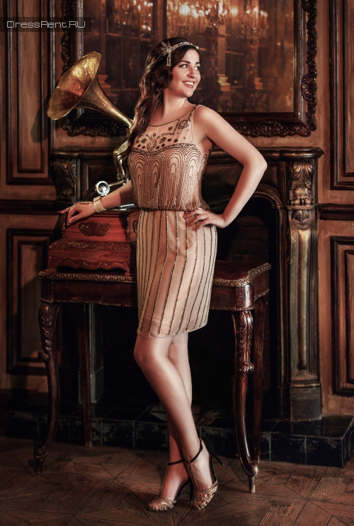 Js Collections,Biege Gatsby Dress