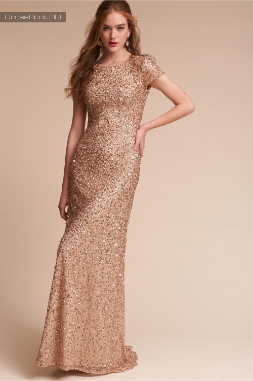 Adrianna Papell ,Sequin Gown Gold
