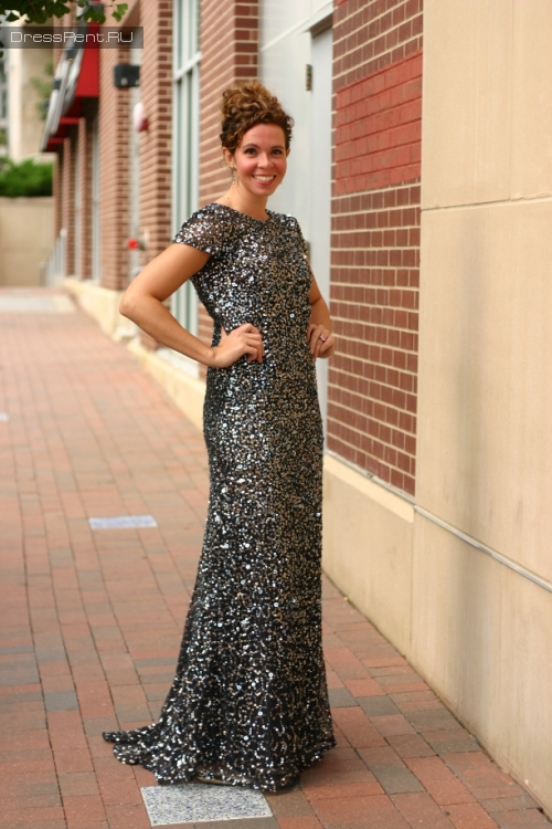 Adrianna Papell ,Sequin Gown Blue