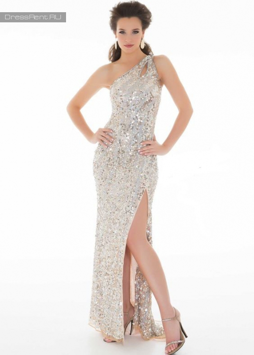 Mac Duggal,Sequin One Shoulder Gown