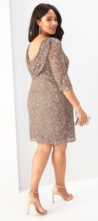 Pisarro Nights,Sand 3/4 Sleeve Dress+