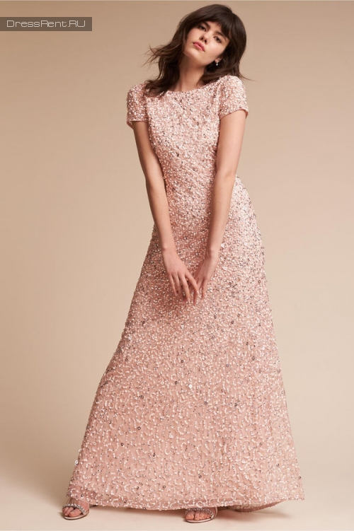Adrianna Papell ,Sequin Gown Blush