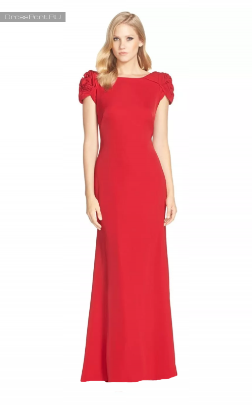 Js boutique,Red Gown Puff Sleeve Open Back