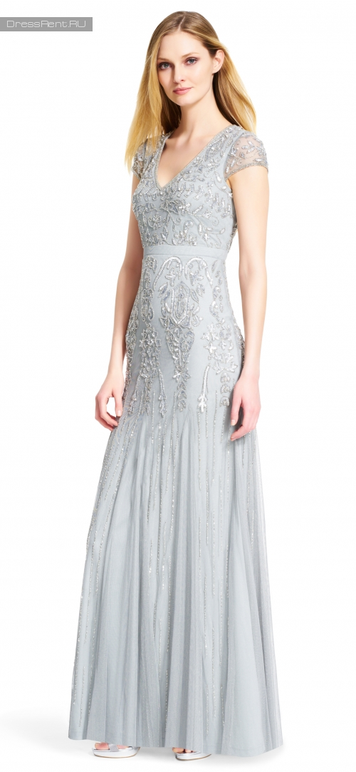 Adrianna Papell ,Silver Tulle Floral Gown