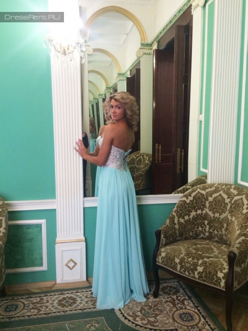 Terani Couture,Nude Tiffany Blue Gown