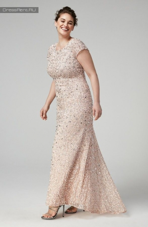 Adrianna Papell ,Sequin Gown Blush +